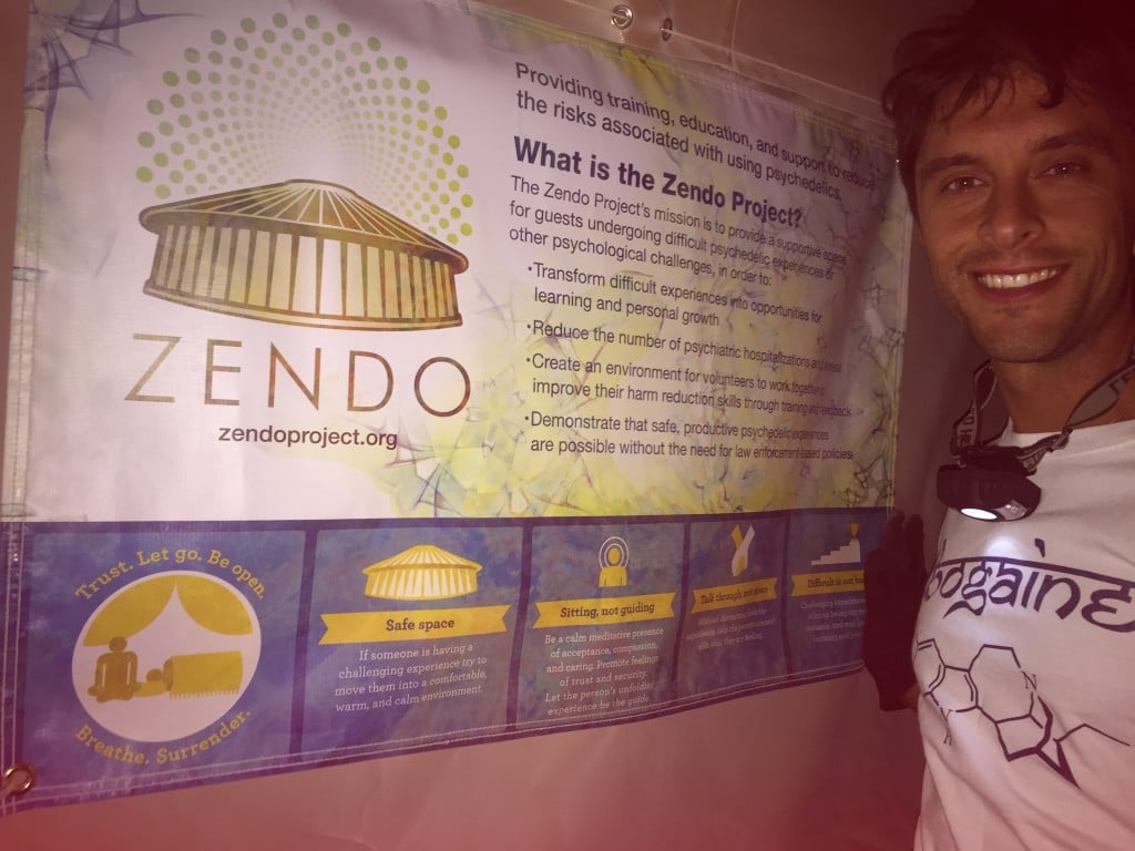 Joe Mattia working with the Zendo Project at Burning Man.