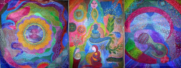 Ayahuasca paintings by Leonardo Inuma Pezo